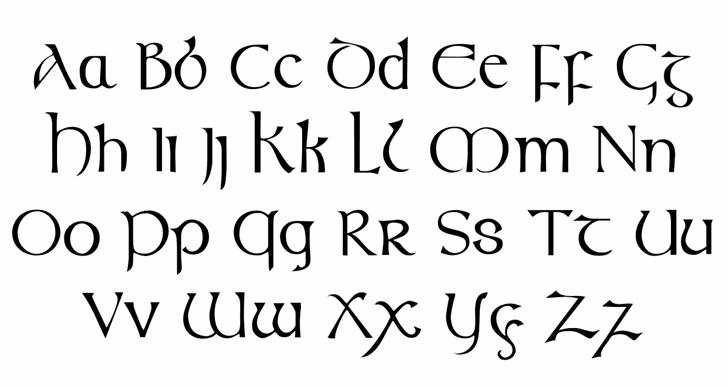 Celtic (Plain):001.001 Font Letters Charmap