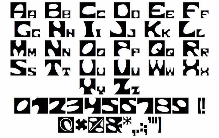 Square circle Font Letters Charmap