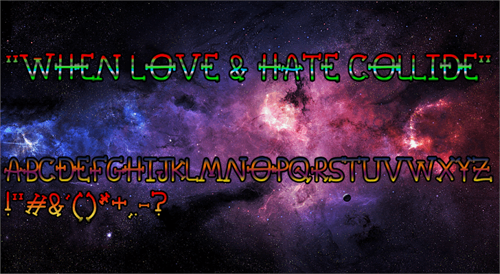 When Love & Hate Collide Font screenshot moon