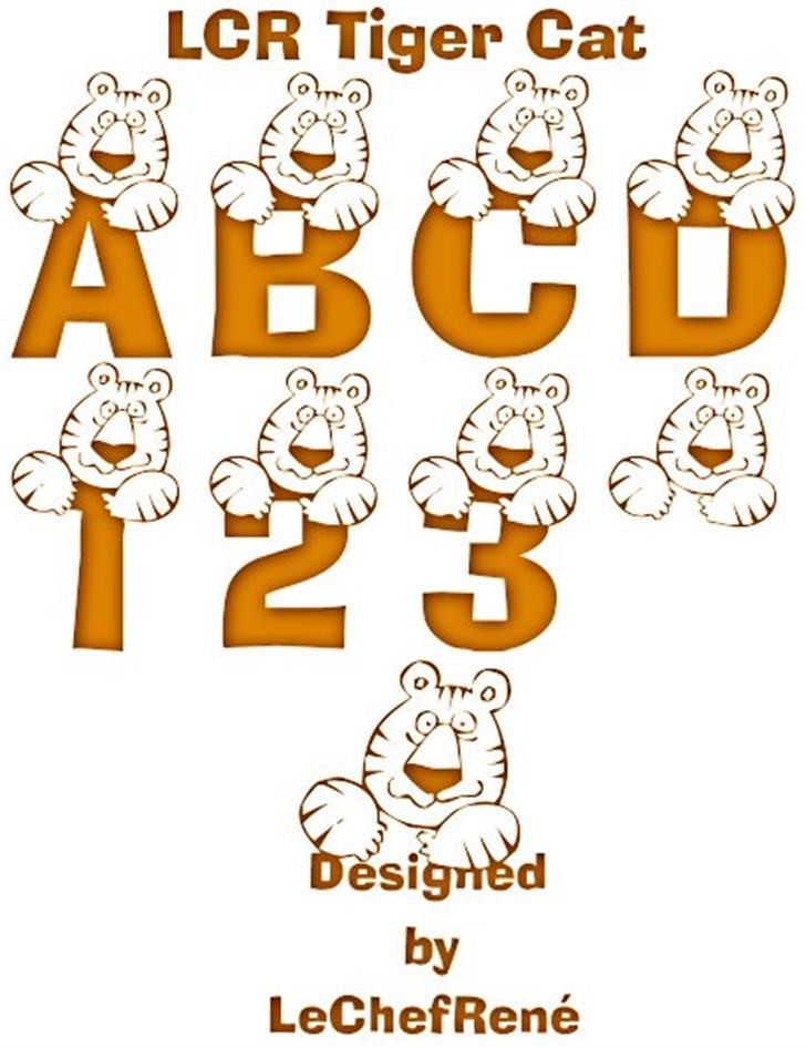 LCR Tiger Cat Font cartoon illustration