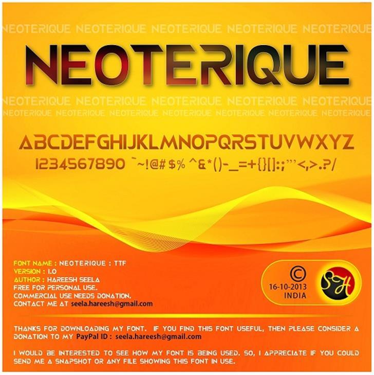 NEOTERIQUE Font screenshot text