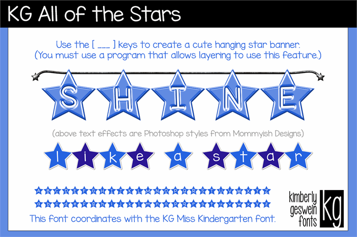 KG All of the Stars Font design graphic