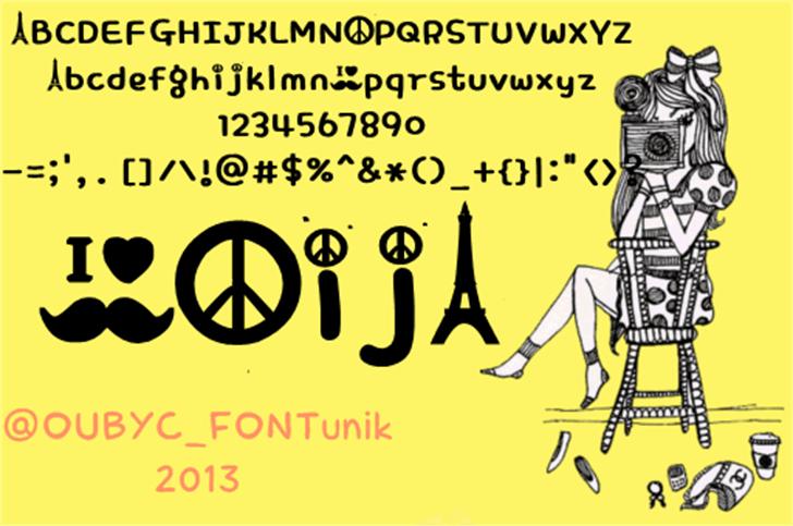 peace mustache  font by OUBYC_FONTunik