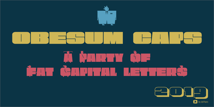 Obesum Ultra Caps Font illustration cartoon