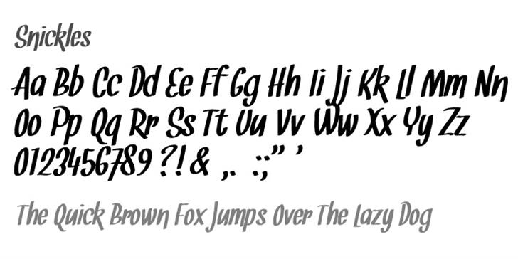 Snickles Font handwriting text