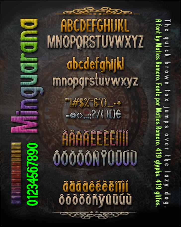 Minguarana Font screenshot text