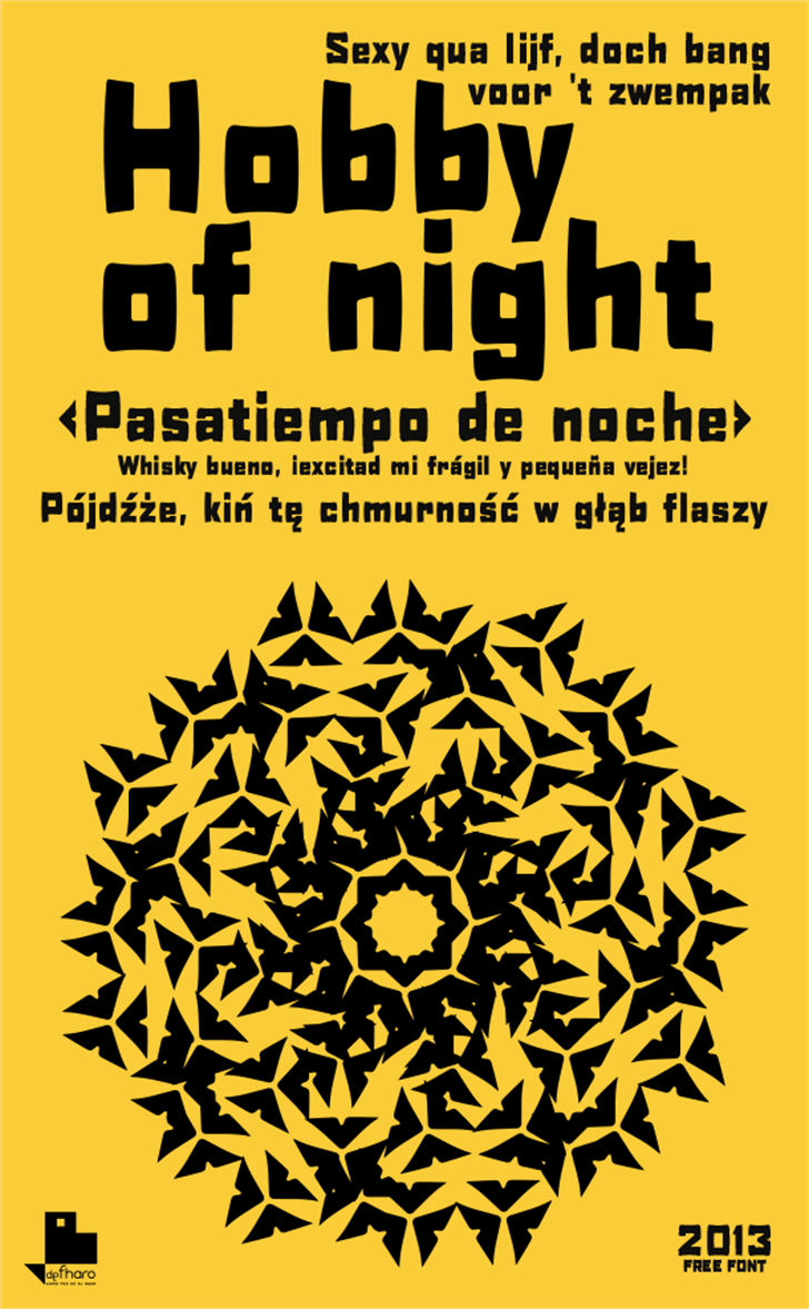 H0bby of night Font text book