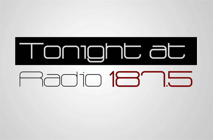 Radio 187.5 Font design screenshot