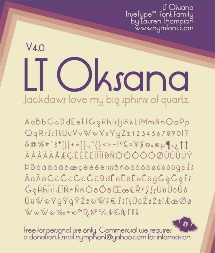LT Oksana font by Nymphont