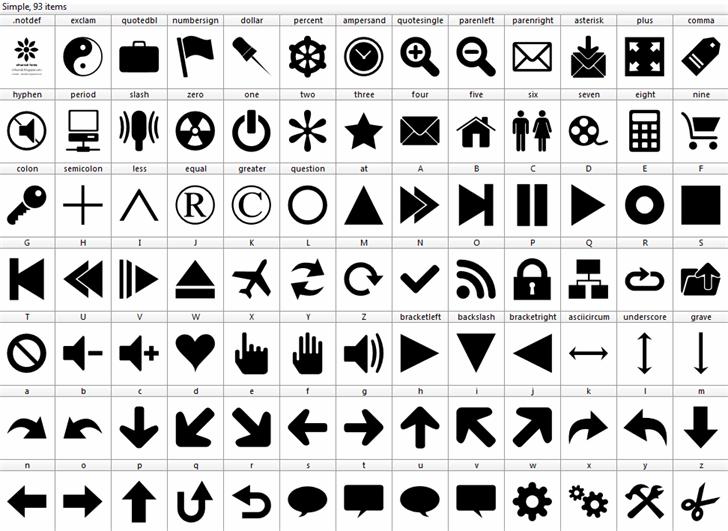 Font 90 Icons Font design graphic