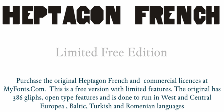 HeptagonFrench Limited Free Edi Font design graphic