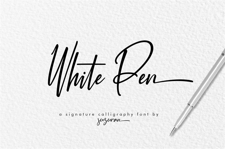 White Pen Font handwriting design