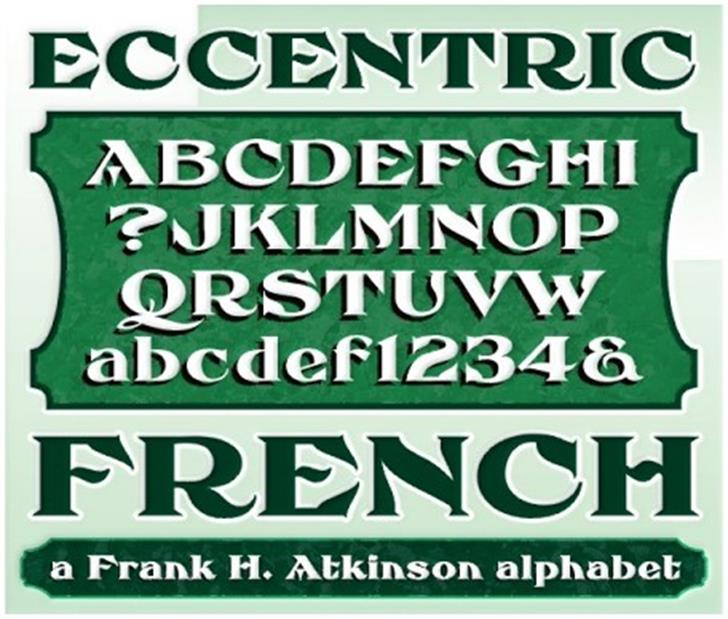 FHA Eccentric French Font text poster