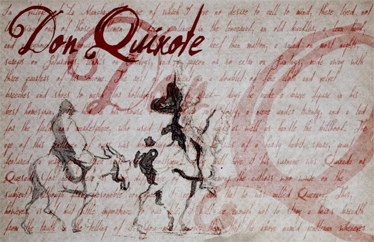 Don Quixote Font handwriting drawing
