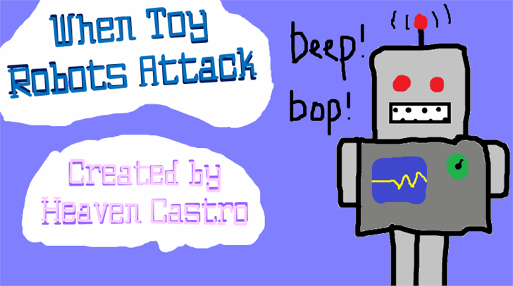 When Toy Robots Attack Font cartoon graphic