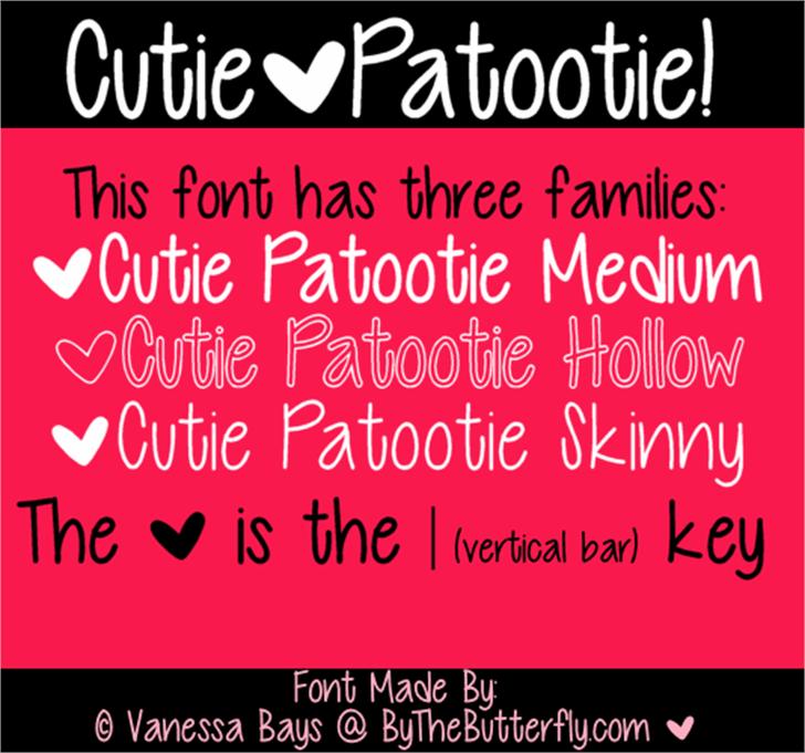 Cutie Patootie Font text screenshot