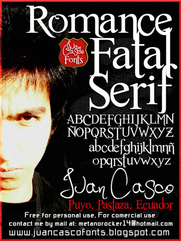 Romance Fatal Serif Font text book