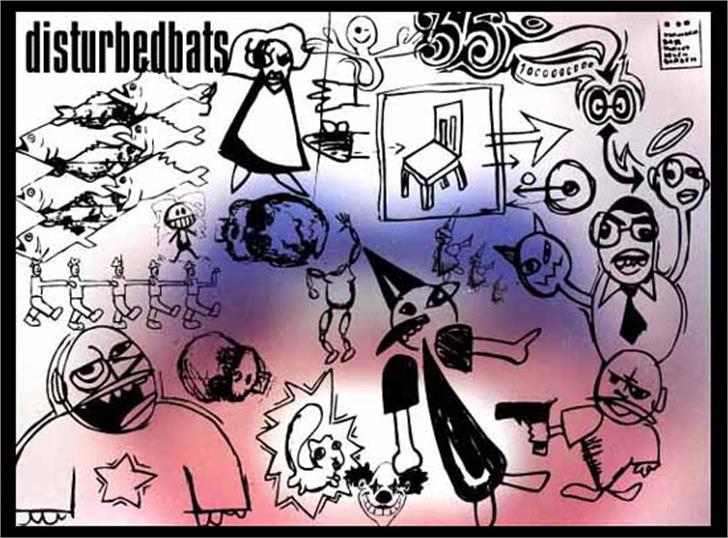 DisturbedBats Font cartoon drawing