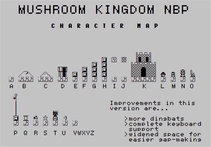 Mushroom Kingdom NBP font by total FontGeek DTF, Ltd.