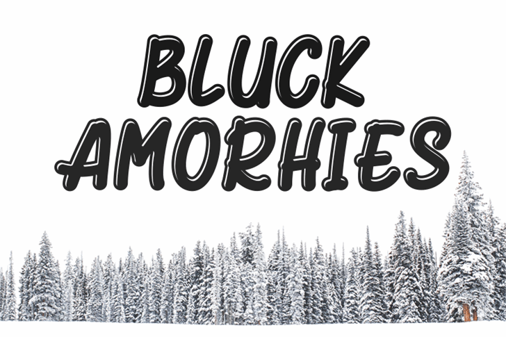 Bluck Amorhies Font snow covered trees