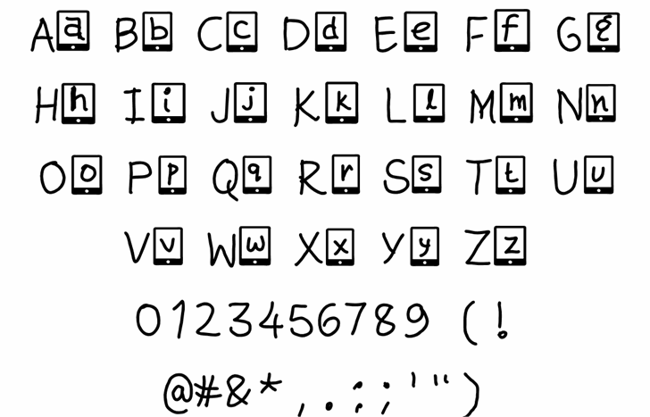 kute phone Font Letters Charmap