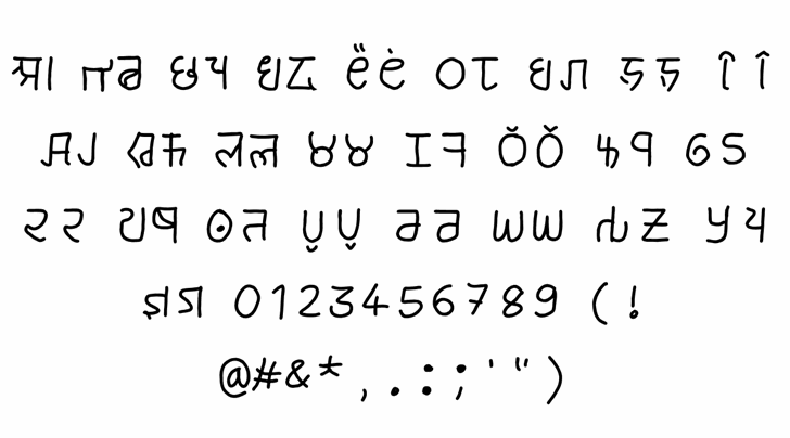 brahmic hinglish Font Letters Charmap
