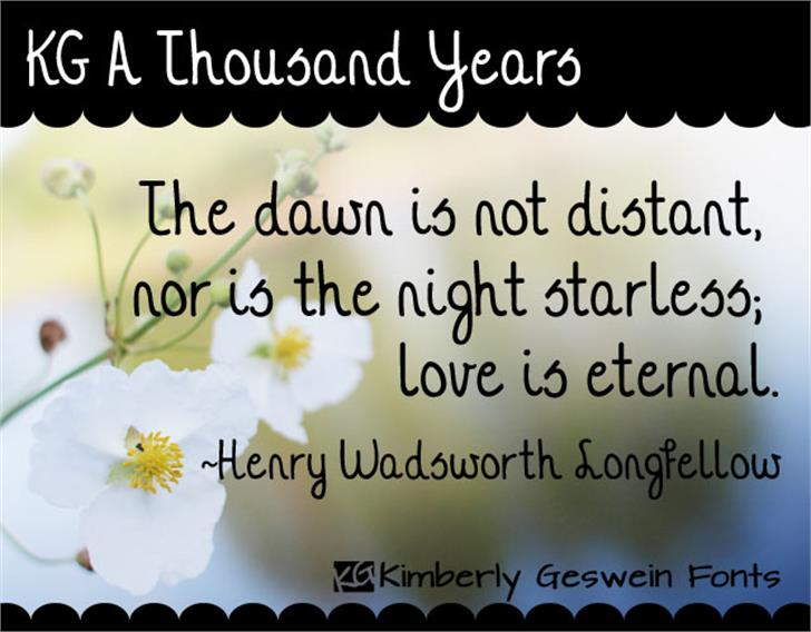 KG A Thousand Years Font flower text