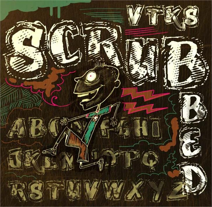 VTKS SCRUBBED Font drawing text