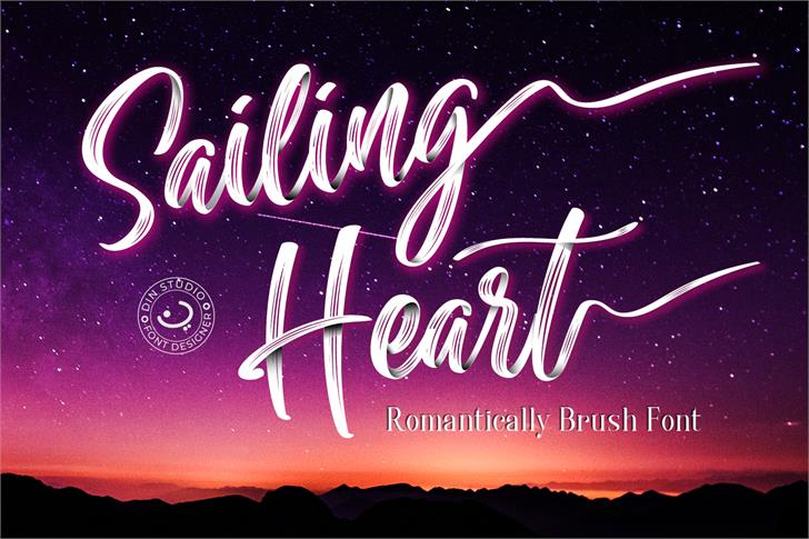 Sailing Heart Font text design