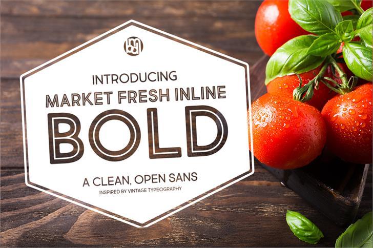 Market Fresh Inline Bold Font fruit food