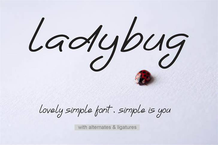 Ladybug Font text handwriting