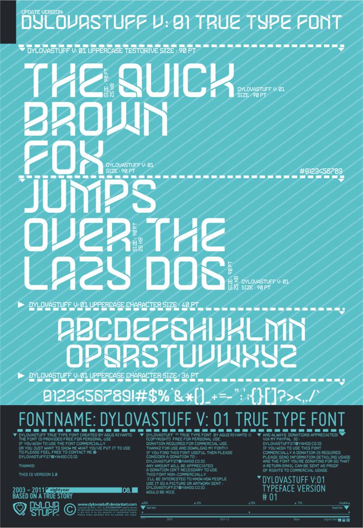 DYLOVASTUFF Font design screenshot