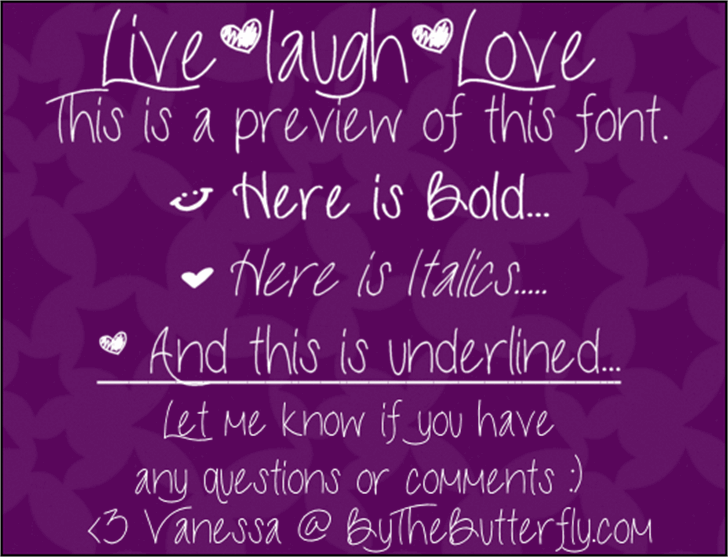 LiveLaughLove Font text handwriting