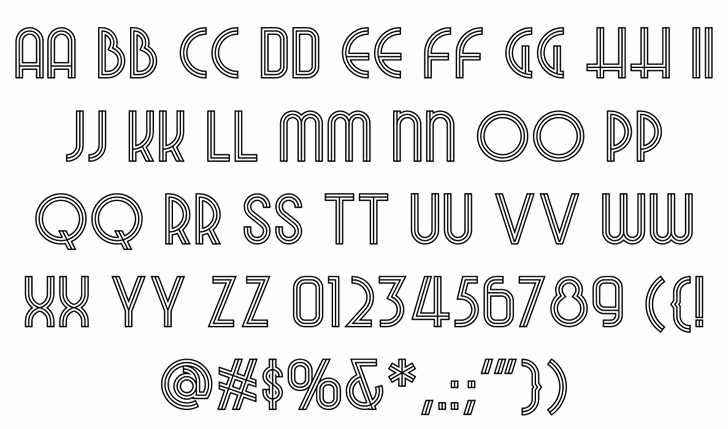 Night At The Opera NF Font Letters Charmap