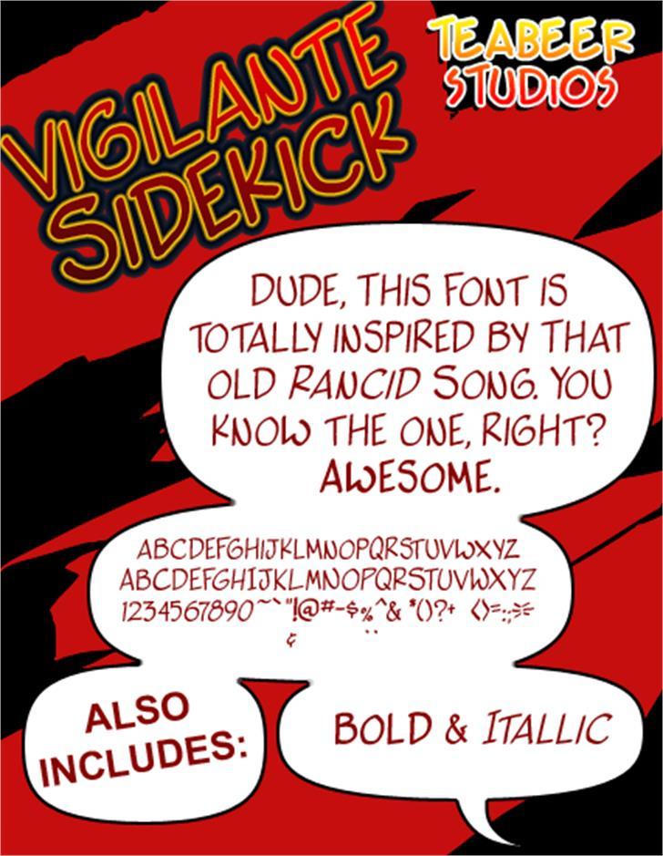 Vigilante Sidekick font by Press Gang Studios