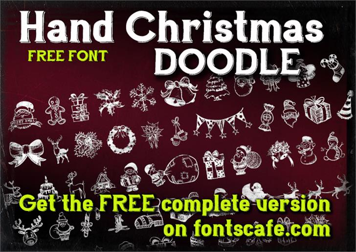 Hand Christmas Doodle Font text poster