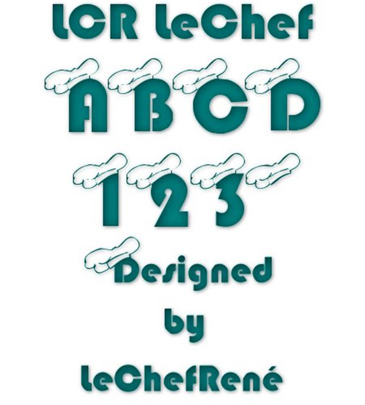 LCR LeChef Font design drawing