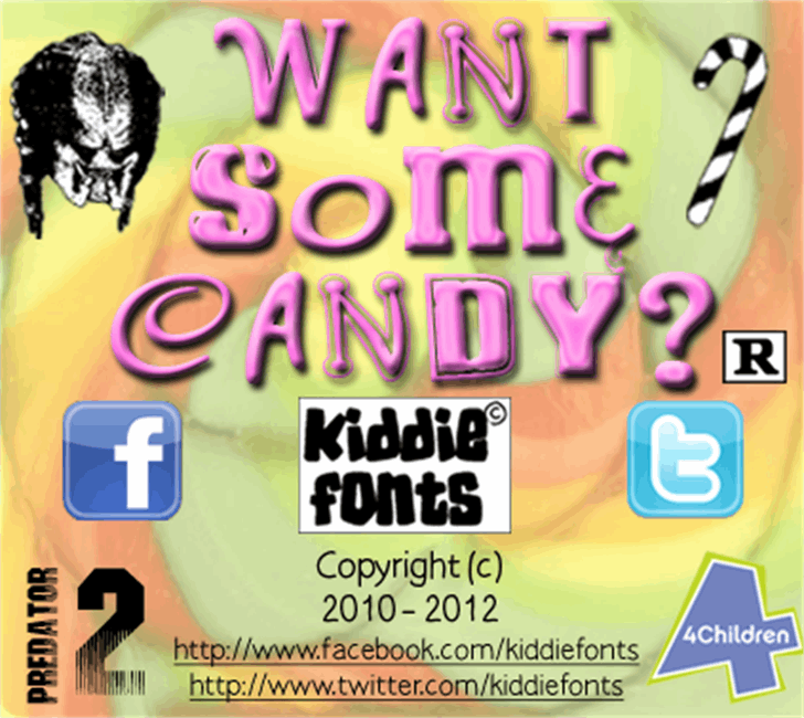 WANT SOME CANDY Font cartoon poster