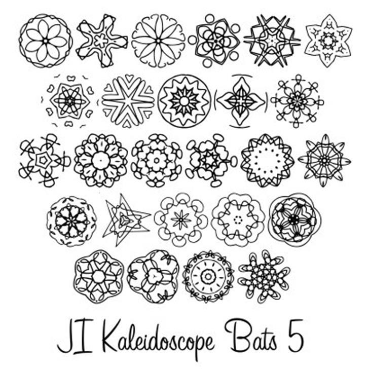 JI Kaleidoscope Bats 5 Font pattern drawing