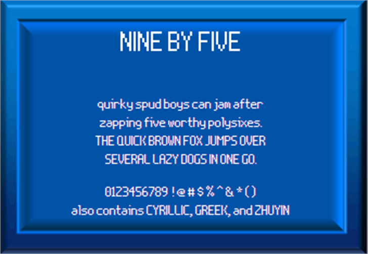 Nine By Five NBP Font monitor design