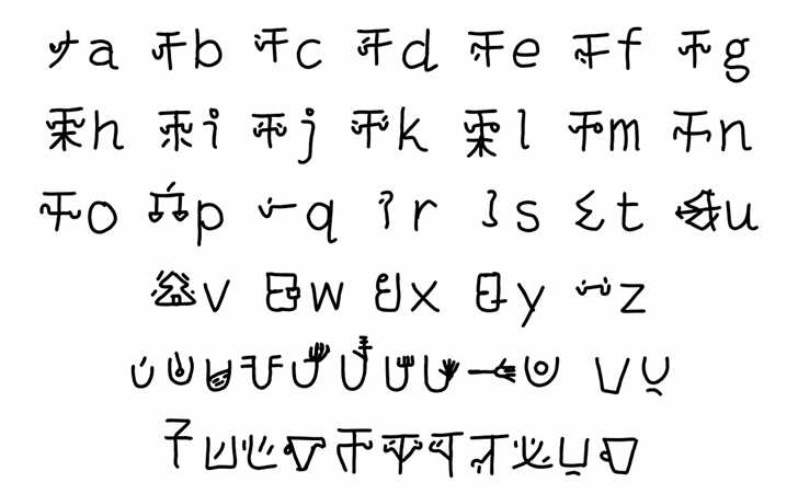 mantrakshar JI1 Font Letters Charmap