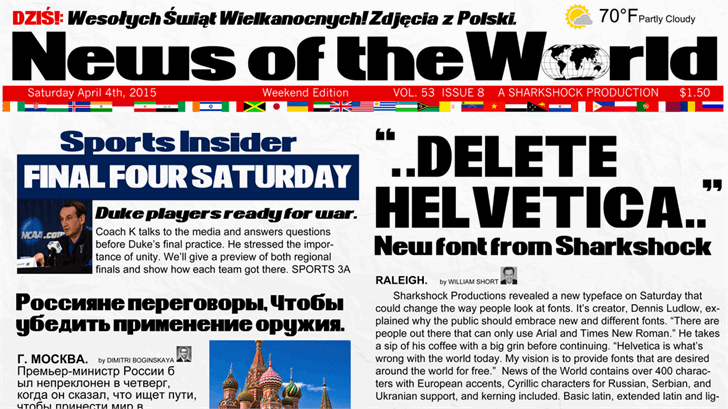 News of the World Font text newspaper
