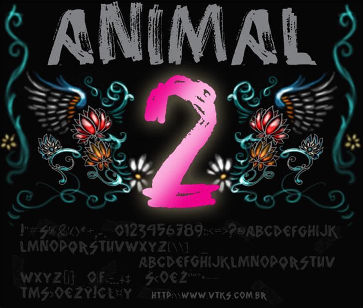 vtks animal 2 Font poster design