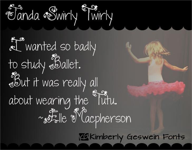Janda Swirly Twirly font by Kimberly Geswein