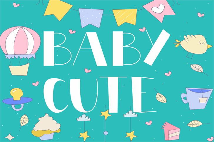 BABY CUTE Font design illustration