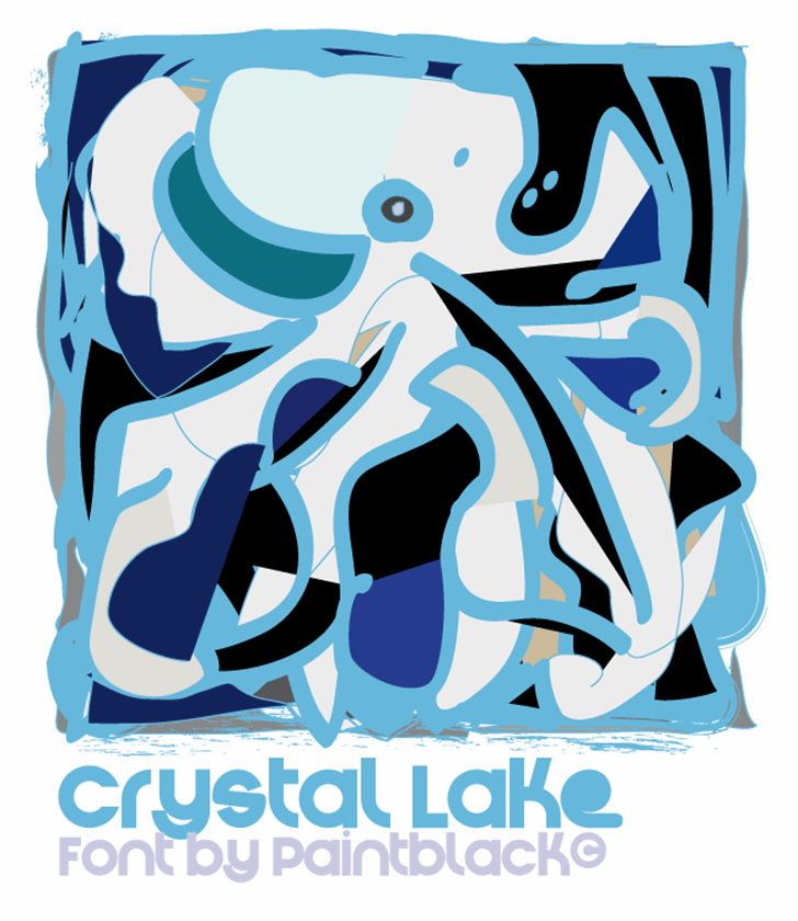 Crystal Lake Font cartoon design