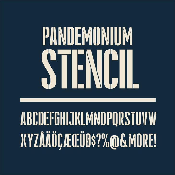 Pandemonium Stencil Font poster text