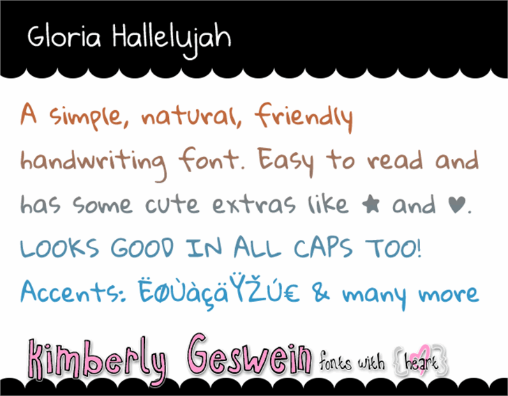Gloria Hallelujah Font graphic handwriting