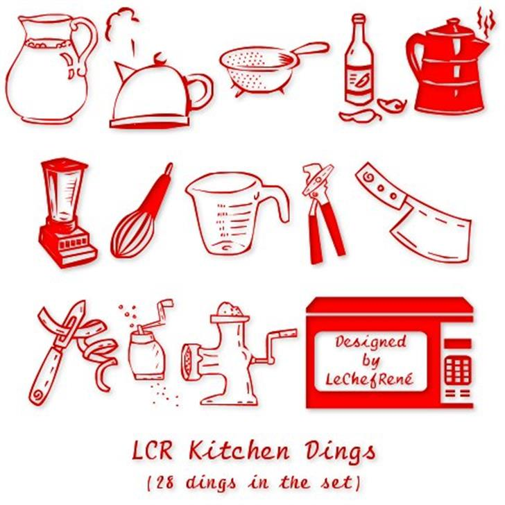 LCR Kitchen Dings Font design cartoon
