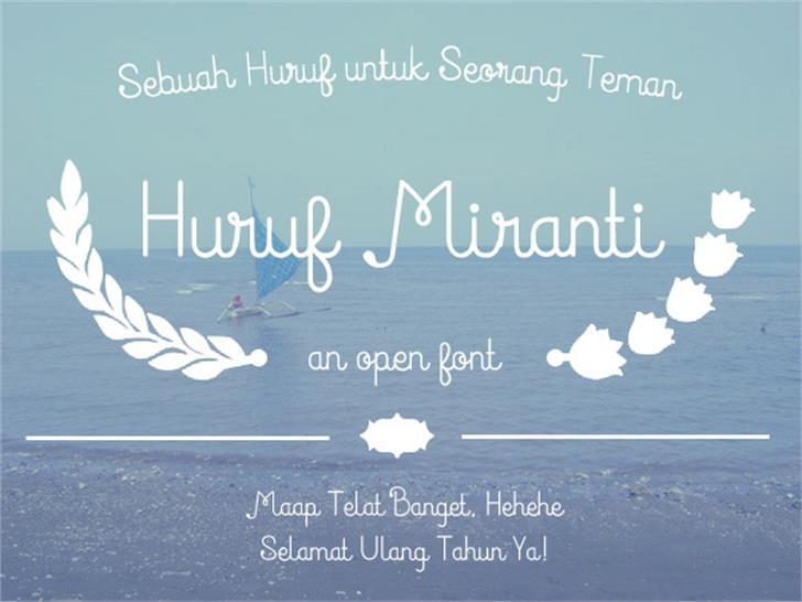 Huruf Miranti Font text design